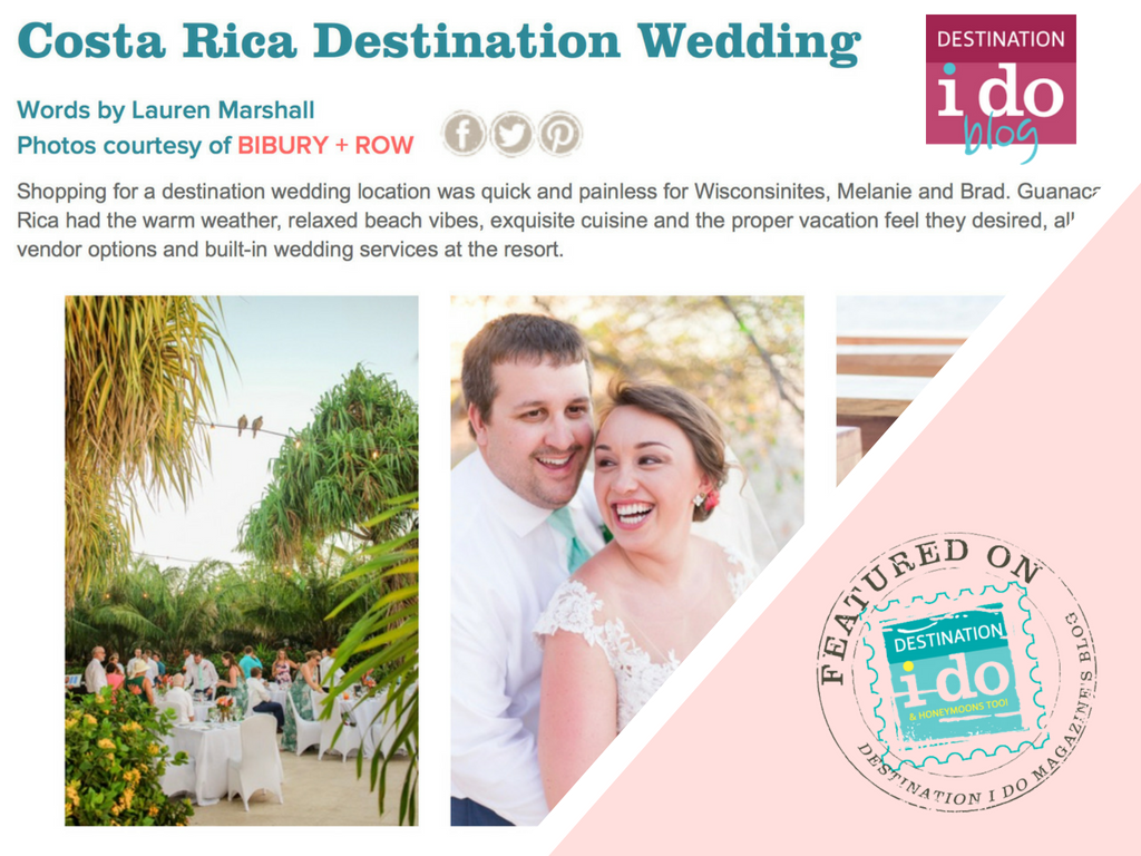 Melanie & Brad's Costa Rica Wedding Featured on Destination I Do Magazine Blog