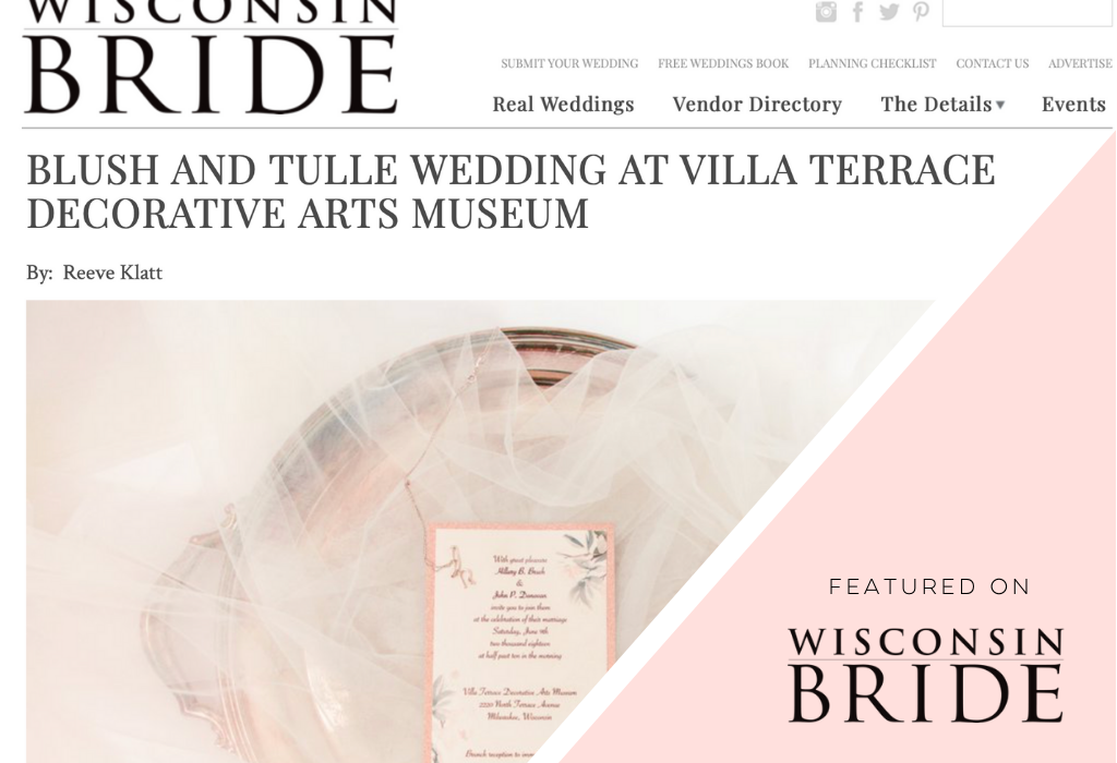 Wisconsin Bride Magazine Feature - Bibury + Row