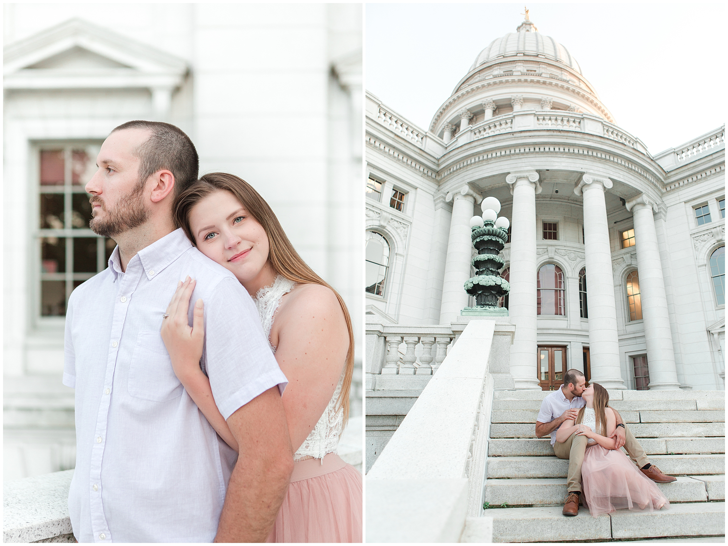 Summer State Capitol Engagement Session in Madison, WI
